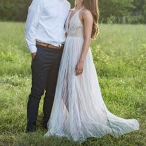 White and nude flowy maxi dress